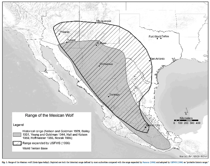 Mexican Gray Wolf Range