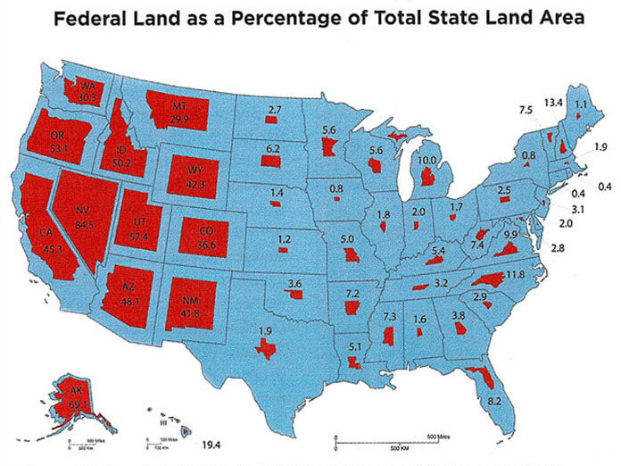 Federal Land vs Total State Land - USGSA