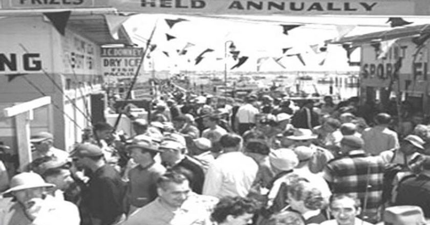 Crowd at San Diego's first Yellowtail Derby circa 1950