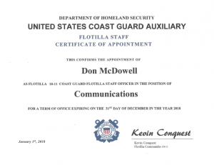 Staff Officer Appointment for Don McDowell
