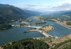 An aerial view of Bonneville Lock and Dam on the Columbia River. The dam is about 40 miles east of Portland, Ore